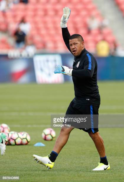 Goalkeeper Nick Rimando of the United States waves to the crowd before an international friendly soccer game on June 3 2017 at Rio Tinto Stadium in...