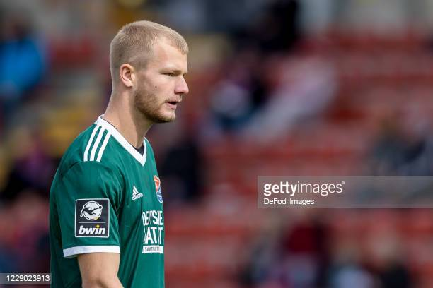 Goalkeeper Nico Mantl of SpVgg Unterhaching looks on during the 3. Liga match between SpVgg Unterhaching and SV Meppen at Sportpark Unterhaching on...