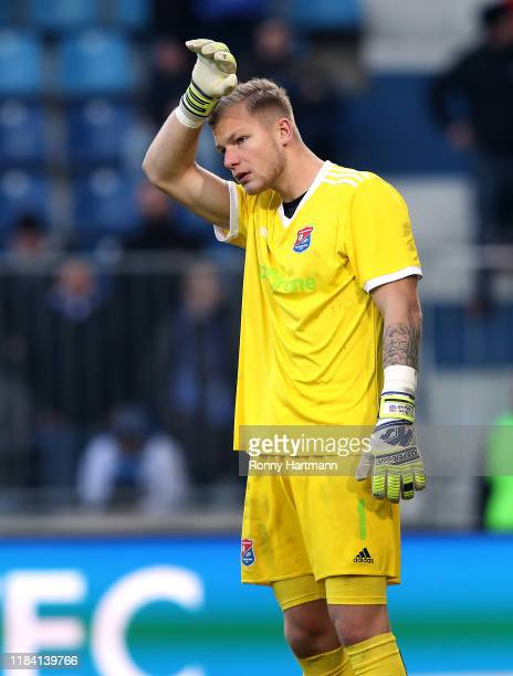 Goalkeeper Nico Mantl of Unterhaching reacts during the 3. Liga match between 1. FC Magdeburg and SpVgg Unterhaching at MDCC Arena on November 23,...