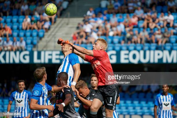 Goalkeeper Nicolai Flo of Vendsyssel FF in action during the Danish Superliga match between Esbjerg fB and Vendsyssel FF at Blue Water Arena on July...