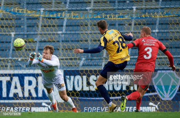 Goalkeeper Nicolai Larsen of FC Nordsjalland in action during the Danish Superliga match between Hobro IK and FC Nordsjalland at DS Arena on October...