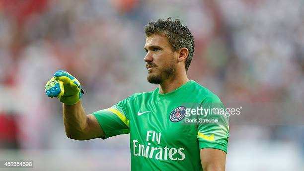 Goalkeeper Nicolas Douchez of Paris reacts during the pre season friendly match between RB Leipzig and Paris SaintGermain at Red Bull Arena on July...