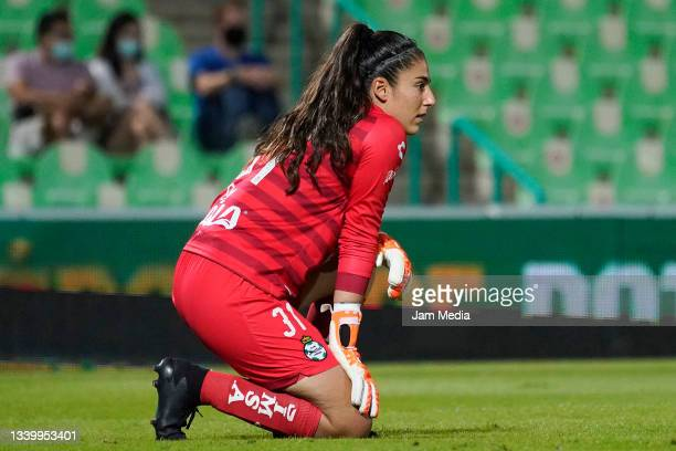 Goalkeeper Nicole Buenfil of Santos looks on during a match between Santos and Chivas as part of the Torneo Grita Mexico A21 Liga MX Femenil at...