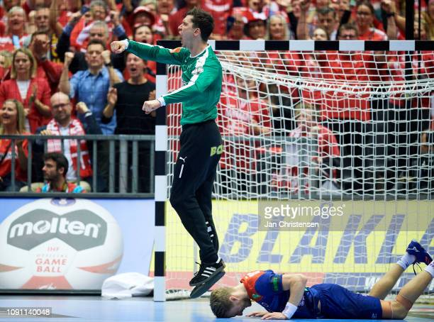 Goalkeeper Niklas Landin of Denmark celebrate after saved goal during the IHF Men's World Championships Handball Final between Denmark and Norway in...