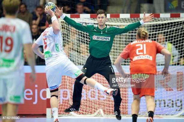 0e6e59ee221 Goalkeeper Niklas Landin of Denmark in action during the BYGMA Golden League  match between Denmark and