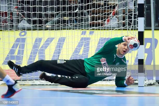 Goalkeeper Niklas Landin of Denmark in action during the IHF Men's World Championships Handball Final between Denmark and Norway in Jyske Bank Boxen...