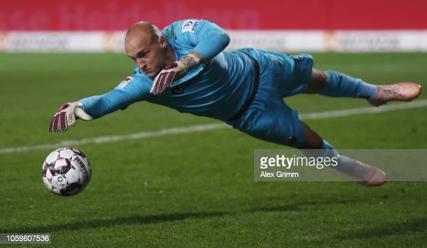 Goalkeeper Niklas Lomb makes a save during the Second Bundesliga match between SV Sandhausen and MSV Duisburg at BWTStadion am Hardtwald on November...