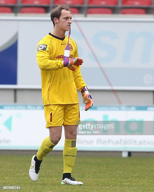 Goalkeeper Niklas Lomb of Halle shows his frustration after getting the red card during the third league match between Hallescher FC and MSV Duisburg...