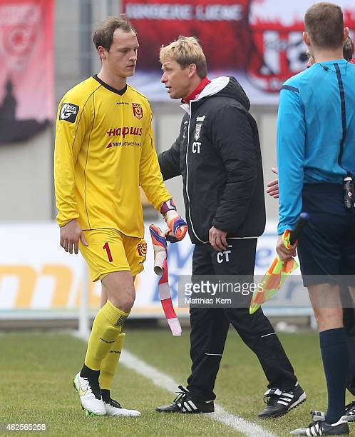 31 Goalkeeper Niklas Lomb of Halle shows his frustration after getting the red card during the third league match between Hallescher FC and MSV...
