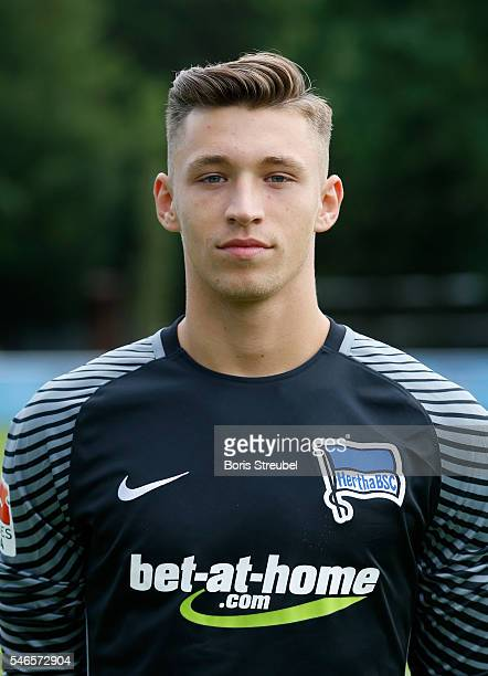 Goalkeeper Nils Koerber of Hertha BSC poses during the Hertha BSC Team Presentation on July 12 2016 in Berlin Germany