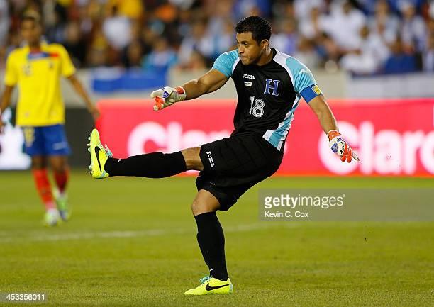 Goalkeeper Noel Valladares of Honduras against Ecuador during an international friendly match at BBVA Compass Stadium on November 19 2013 in Houston...