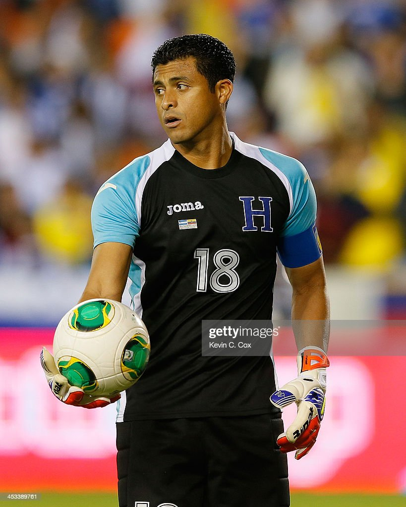 Goalkeeper Noel Valladares #18 of Honduras against Ecuador during an international friendly match at BBVA Compass Stadium on November 19, 2013 in Houston, Texas.
