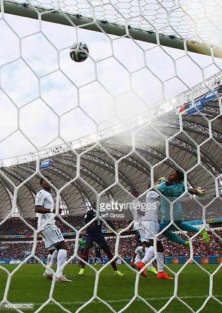 Goalkeeper Noel Valladares of Honduras jumps during the 2014 FIFA World Cup Brazil Group E match between France and Honduras at Estadio BeiraRio on...