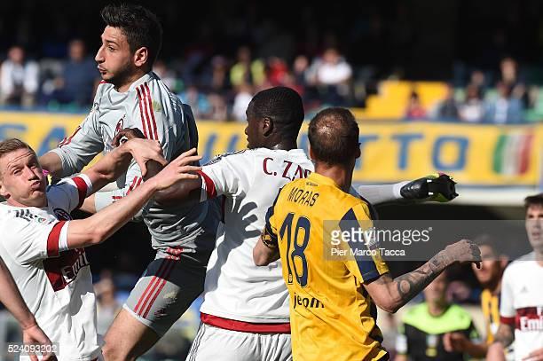 Goalkeeper of AC Milan Gianluigi Donnarumma in action during the Serie A match between Hellas Verona FC and AC Milan at Stadio Marc'Antonio Bentegodi...