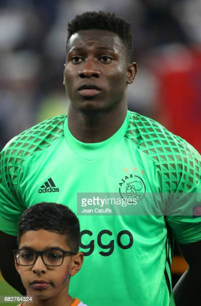 Goalkeeper of Ajax Amsterdam Andre Onana looks on before the UEFA Europa League semi final second leg match between Olympique Lyonnais and Ajax...