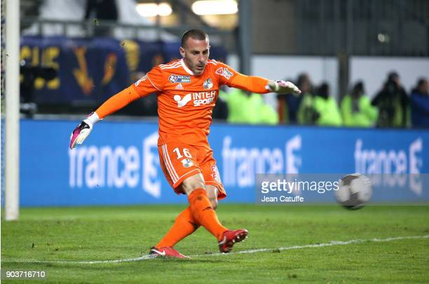 Goalkeeper of Amiens JeanChristophe Bouet during the French League Cup match between Amiens SC and Paris Saint Germain at Stade de la Licorne on...