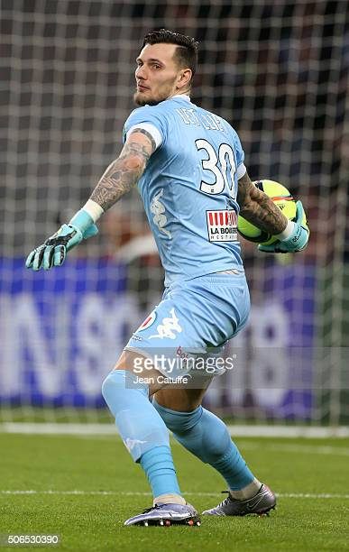 Goalkeeper of Angers Alexandre Letellier in action during the French Ligue 1 match between Paris SaintGermain and SCO Angers at Parc des Princes...