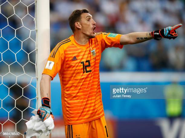 PETERSBURG RUSSIA JUNE Goalkeeper of Argentina Franco Armani gives instructions during the 2018 FIFA World Cup Russia group D match between Nigeria...
