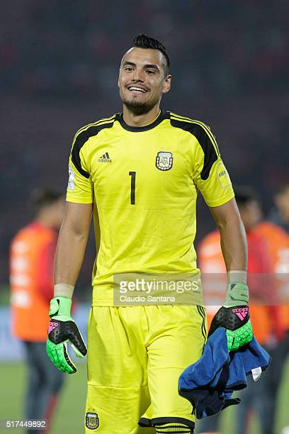 Goalkeeper of Argentina Sergio Romero smiles during a match between Chile and Argentina as part of FIFA 2018 World Cup Qualifiers at Nacional Stadium...
