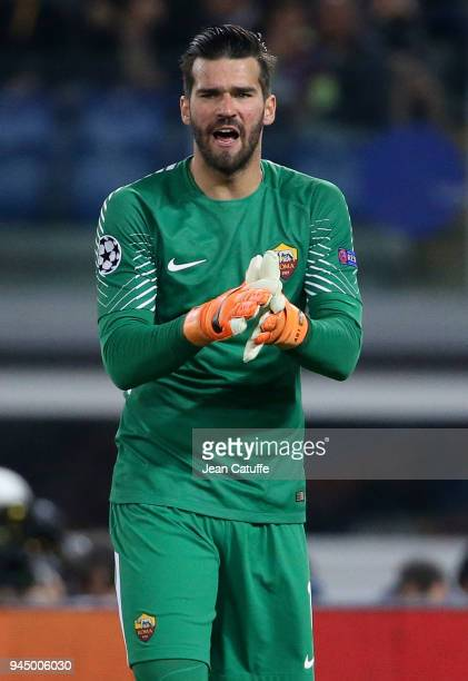 Goalkeeper of AS Roma Alisson Becker during the UEFA Champions League Quarter Final second leg match between AS Roma and FC Barcelona at Stadio...