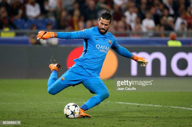 Goalkeeper of AS Roma Alisson Becker during the UEFA Champions League Semi Final second leg match between AS Roma and Liverpool FC at Stadio Olimpico...