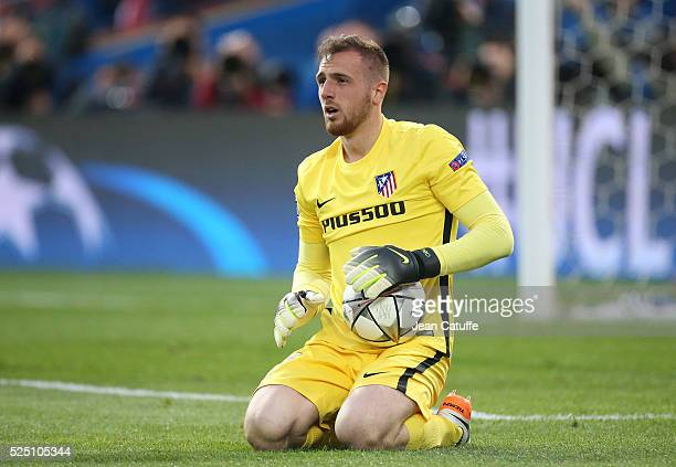 Goalkeeper of Atletico Madrid Jan Oblak in action during the UEFA Champions League semi final first leg match between Club Atletico Madrid and FC...