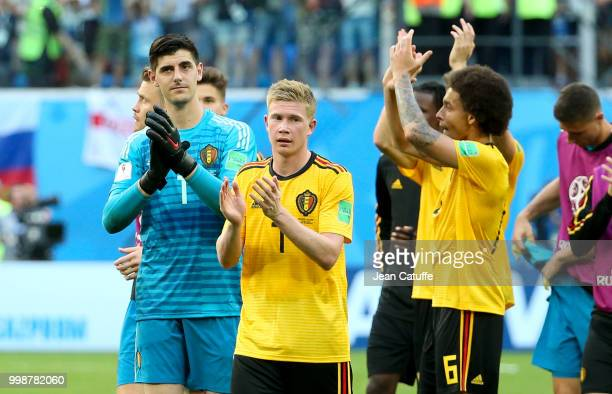 Goalkeeper of Belgium Thibaut Courtois Kevin De Bruyne Axel Witsel celebrate the victory following the 2018 FIFA World Cup Russia 3rd Place Playoff...