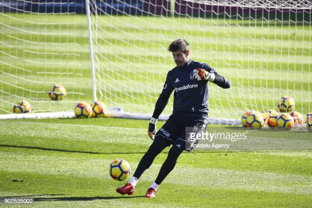 Goalkeeper of Besiktas Fabri attends a training session ahead of the second half of the Turkish Super Lig in Antalya Turkey on January 8 2018