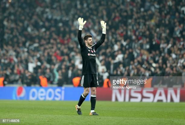 Goalkeeper of Besiktas Fabri greets Besiktas fans after the UEFA Champions League Group G soccer match between Besiktas and Porto at the Vodafone...