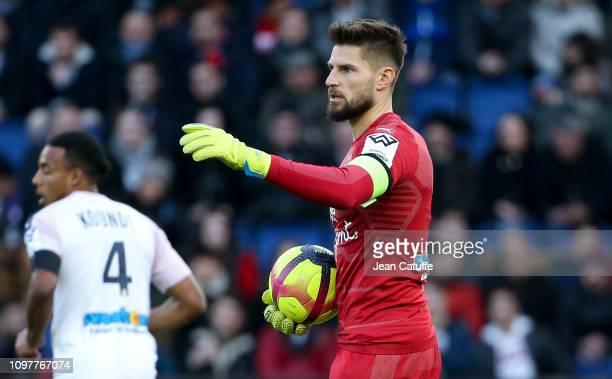 Goalkeeper of Bordeaux Benoit Costil during the french Ligue 1 match between Paris SaintGermain and Girondins de Bordeaux at Parc des Princes on...