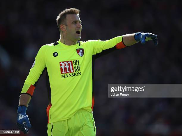 Goalkeeper of Bournemouth Artur Boruc shouts instructions during the Premier League match between Manchester United and AFC Bournemouth at Old...