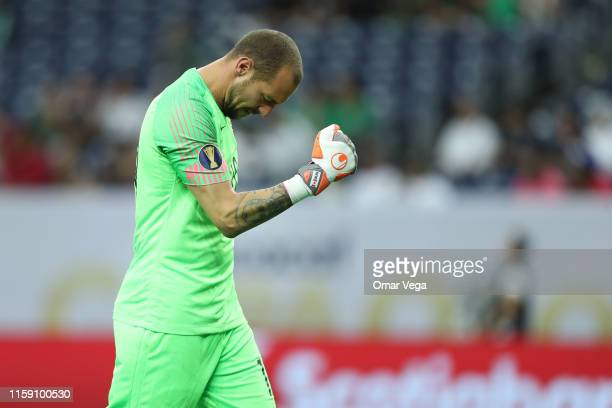 Goalkeeper of Canada Milan Borjan celebrates first goal during a quarterfinal match between Haiti and Canada as part of 2019 CONCACAF Gold Cup at NRG...