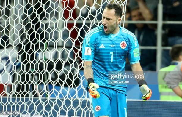 Goalkeeper of Colombia David Ospina celebrates stopping a penalty during the penalty shootout of the 2018 FIFA World Cup Russia Round of 16 match...