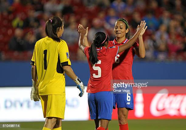 Goalkeeper of Costa Rica Dinnia Diaz Diana Saenz and Carol Sanchez celebrate during a match between Mexico and Costa Rica as part of the Women's...