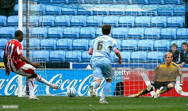 Goalkeeper of Coventry City Kasper Schmeichel misses to save penalty kick by Ricardo Fuller of Stoke City during the Coca Cola Championship match...