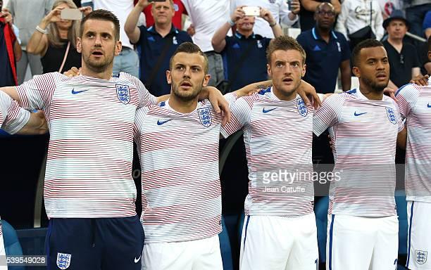 Goalkeeper of England Tom Heaton Jack Wilshere Jamie Vardy Marcus Rashford of England look on before the UEFA Euro 2016 Group B match between England...