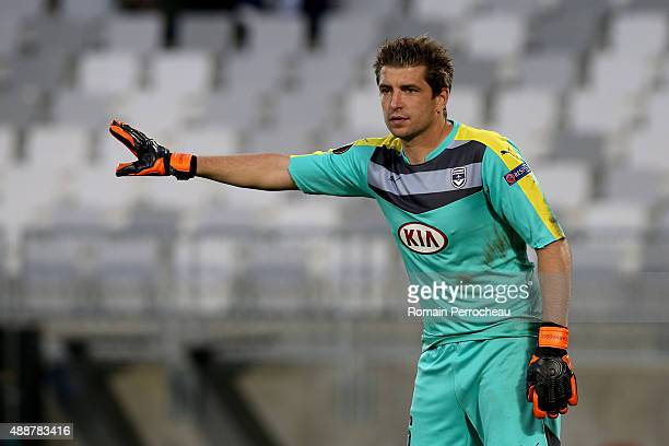 Goalkeeper of FC Girondins de Bordeaux Cedric Carrasso gestures during the Europa League game between FC Girondins de Bordeaux and Liverpool FC at...