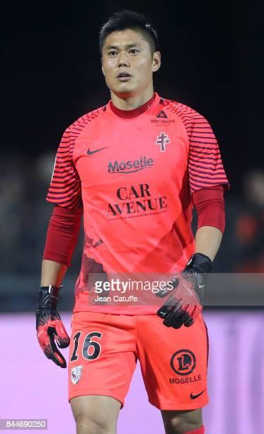 Goalkeeper of FC Metz Eiji Kawashima during the French Ligue 1 match between FC Metz and Paris Saint Germain at Stade SaintSymphorien on September 9...