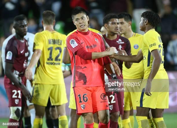 Goalkeeper of FC Metz Eiji Kawashima following the French Ligue 1 match between FC Metz and Paris Saint Germain at Stade SaintSymphorien on September...