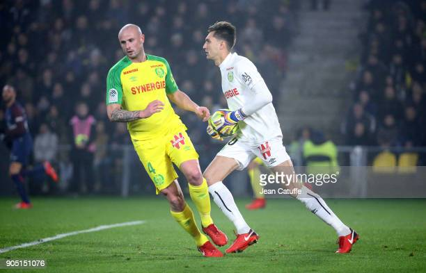 Goalkeeper of FC Nantes Anton Ciprian Tatarusanu Nicolas Pallois of FC Nantes during the French Ligue 1 match between FC Nantes and Paris Saint...