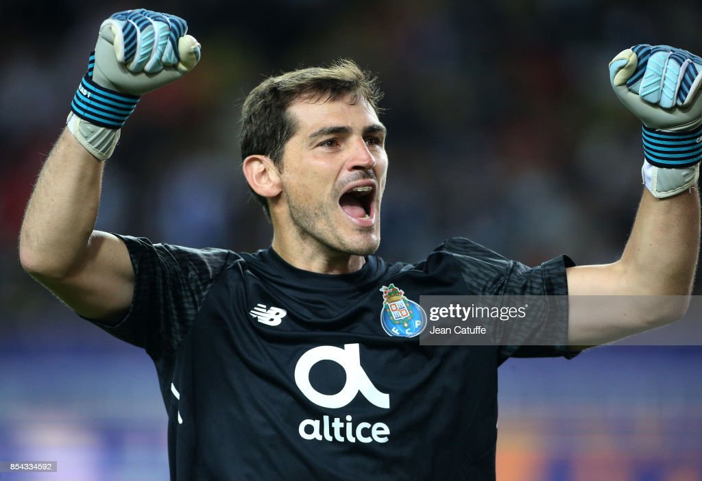 Goalkeeper of FC Porto Iker Casillas celebrates the third goal during the UEFA Champions League group G match between AS Monaco and FC Porto at Stade Louis II on September 26, 2017 in Monaco, Monaco.