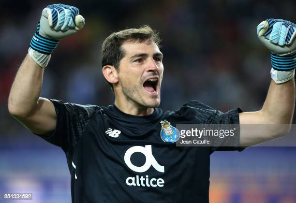Goalkeeper of FC Porto Iker Casillas celebrates the third goal during the UEFA Champions League group G match between AS Monaco and FC Porto at Stade...