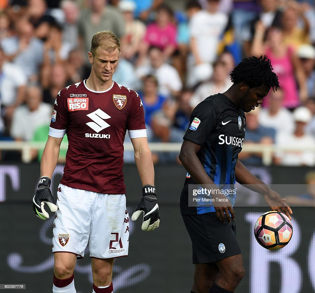 Goalkeeper of FC Torino Joe Hart and Franck Kessie of Atalanta BC during the Serie a match between Atalanta BC and FC Torino at Stadio Atleti Azzurri d'Italia on September 11, 2016 in Bergamo, Italy.