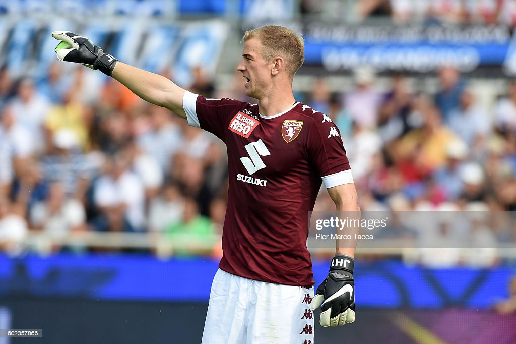Goalkeeper of FC Torino Joe Hart gestures during the Serie a match between Atalanta BC and FC Torino at Stadio Atleti Azzurri d'Italia on September 11, 2016 in Bergamo, Italy.