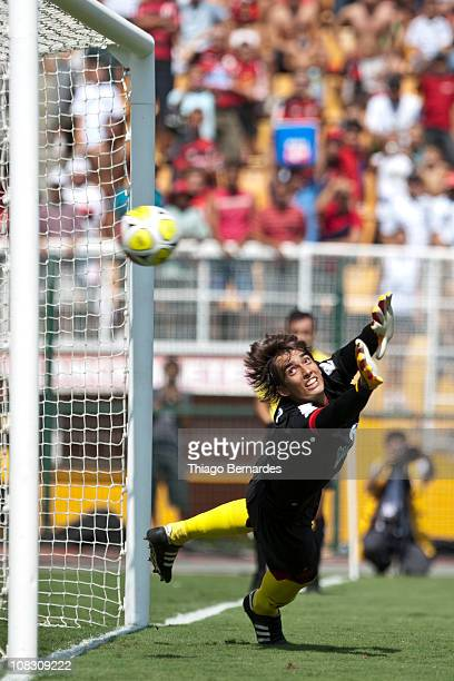 Goalkeeper of Flamengo Cesar fails to save a penalty by Rafael of Bahia during the soccer match Flamengo v Bahia as part of the Sao Paulo Juniors Cup...