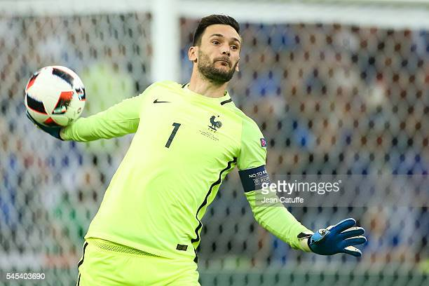 Goalkeeper of France Hugo Lloris in action during the UEFA Euro 2016 semifinal match between Germany and France at Stade Velodrome on July 7 2016 in...
