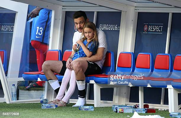 Goalkeeper of France Hugo Lloris meets his daughter Anna Rose Lloris following the UEFA EURO 2016 round of 16 match between France and Republic of...