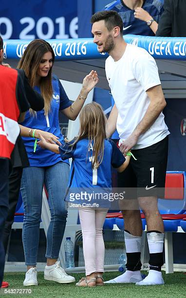 Goalkeeper of France Hugo Lloris meets his wife Marine Lloris and their daughter Anna Rose Lloris following the UEFA EURO 2016 round of 16 match...