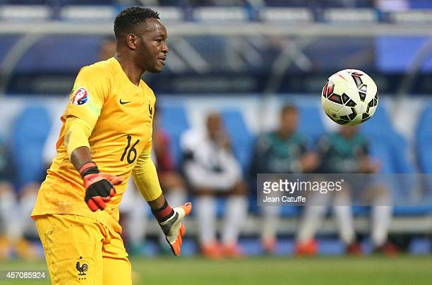 Goalkeeper of France Steve Mandanda in action during the international friendly match between France and Portugal at Stade de France on October 11...
