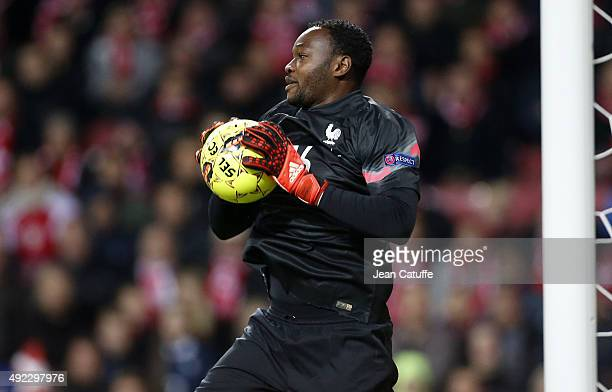 Goalkeeper of France Steve Mandanda in action during the international friendly match between Denmark and France at Telia Parken Stadium on October...
